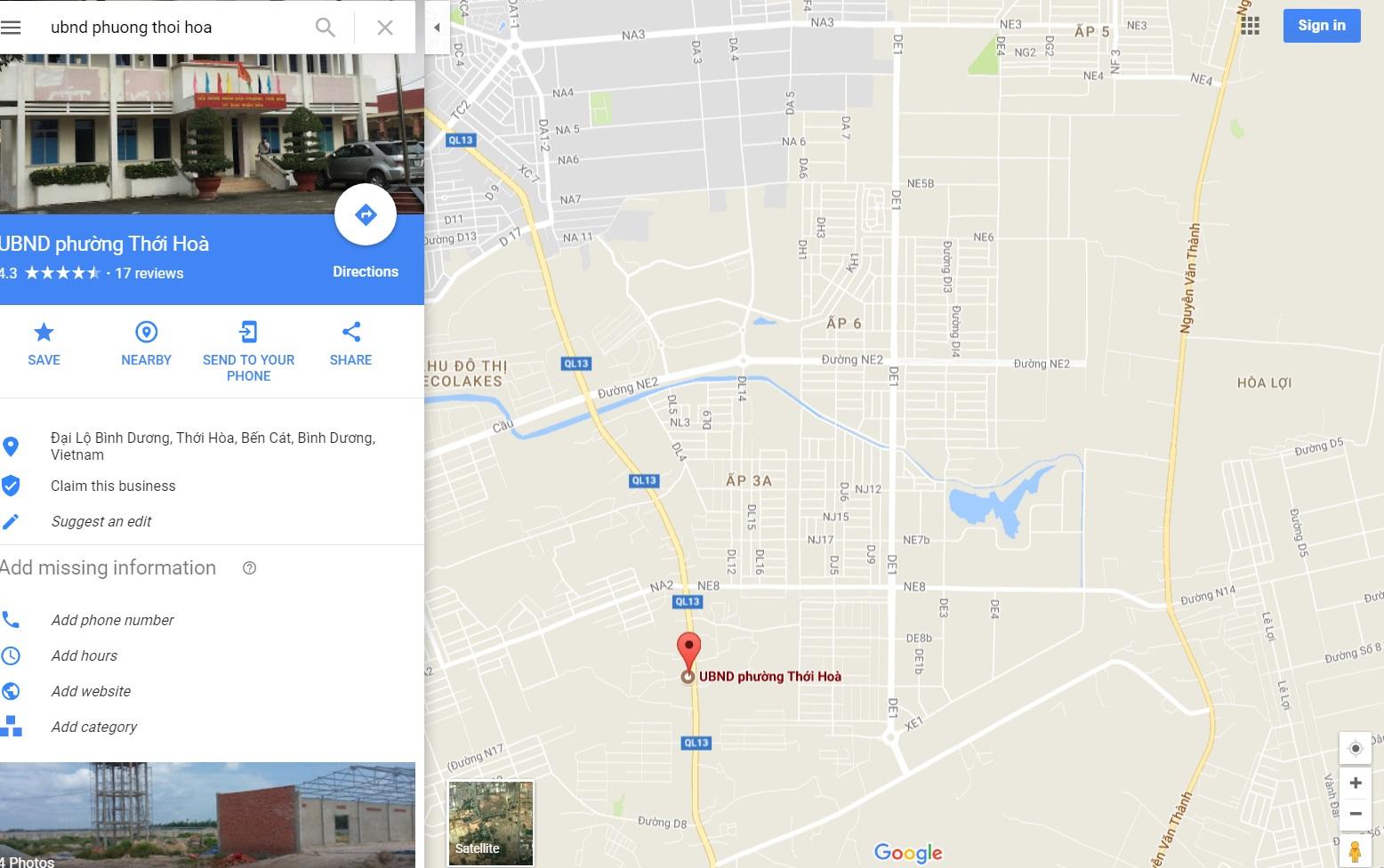 UBND phường Thới Hòa, thị xã Bến cát, Bình Dương