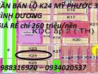 CẦN BÁN LÔ K24 MỸ PHƯỚC 3 BÌNH DƯƠNG GIÁ RẺ chỉ 260 triệu