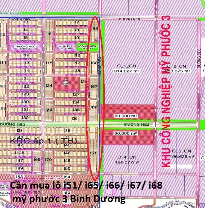 Cần mua lô i51/ i65/ i66/ i67/ i68 mỹ phước 3 Bình Dương