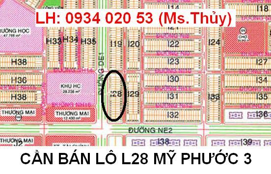 Chính chủ kẹt tiền bán nhanh lô L28 Mỹ Phước 3