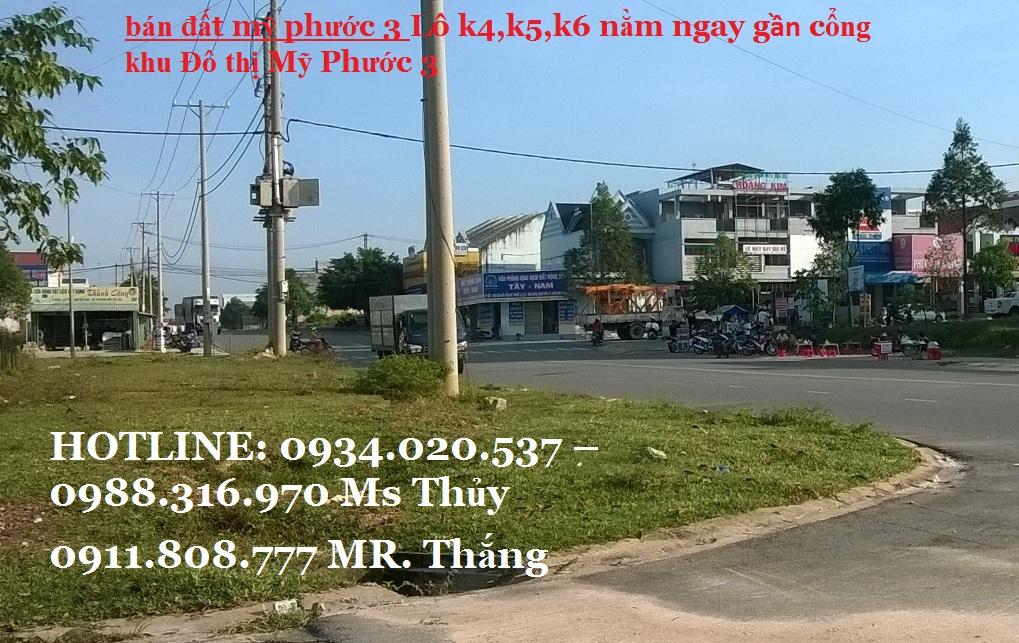 Thông tin Lô k4,k5,k6 đất mỹ phước 3 cần bán