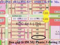 Chính chủ Bán gấp lô I50 Mỹ Phước 3 đường 25M giá rẻ